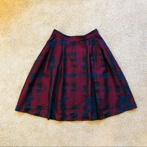 Beautiful red, blue, and black jacquard skirt